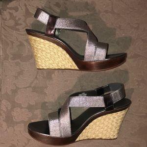 Van Eli Danek shiny pewter wedge sandal